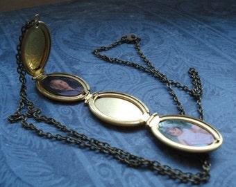 Folding Locket Necklace Four Photo Locket Gift Under 25 Foldable Gold Oval Locket Jewelry Vintage Brass Locket Family Locket
