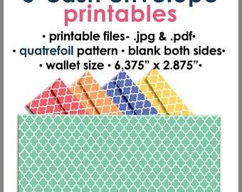 Printable Blank Cash Envelope WALLET Size QUATREFOIL, Money Budget Envelopes, Cash Organizer - Set of 5, PB1528