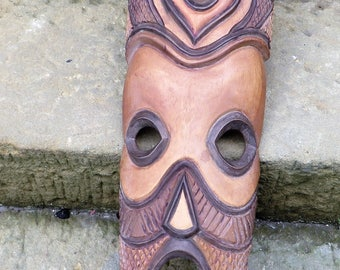 Beautiful Tall Vintage Wooden Mask Perfect for a Man Cave