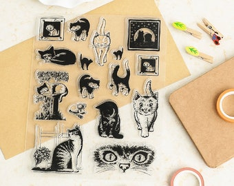 Cat Stamp, cute cat Stamp, kawaii cat Stamp, Clear stamp, Transparent Stamp, Planner Stamp, Rubber Stamp, Diary Stamp, Planner Accessories