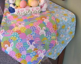 """54"""" 72"""" Easter Table Runner Reversible Table Runner Colored Easter Egg Table Runner Chicks and Bunnies Table Runner Easter Table Decor"""
