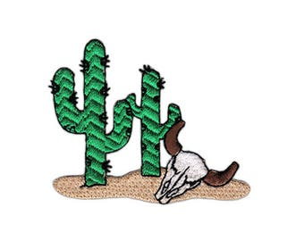 An96 Cactus Buffalo Skull Plants Desert Patch ironing application Patch patches size 7.1 x 5.5 cm