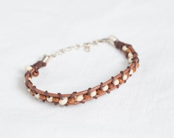 Leather strap and wooden beads