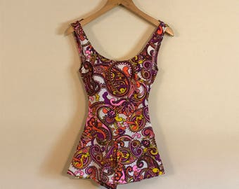 Vintage 60s Psychadelic One Piece Swimsuit