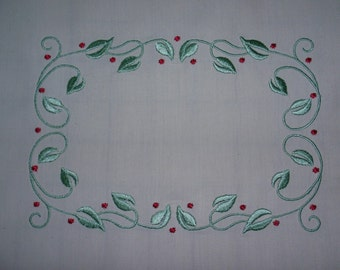 Embroidered Quilt Label Vines and Berries