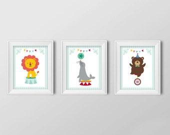 DIGITAL FILES Circus Animals Wall Art, set of three wall art, nursery art, art poster, 8x10, Instant Download