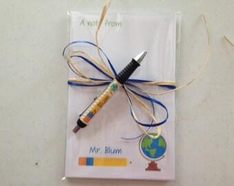 Personalized globe pen and note pad teacher note pad and Pen set social studies teacher note pads teacher pens
