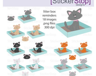 Litter Box Reminder, PNG Digital Clipart - Instant download - cats, kittens, kitty, animals, cat box reminder, clean litter box sticker