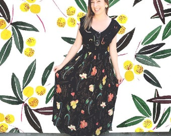 Vintage 1990's Black Maxi Dress with Floral Print and Tie Belt