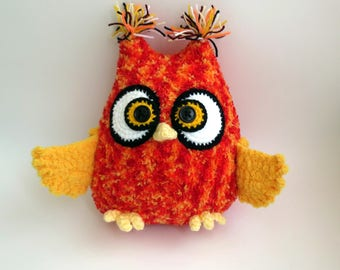 Owl Knitted toy, small pillow Owl Stuffed Toy, gift man child, bright toy ready to ship