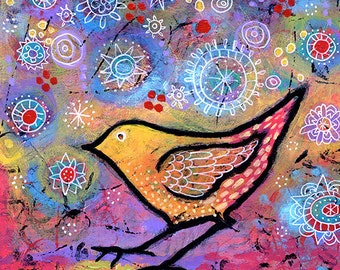 Colorful Bird Art Canvas Print. Small Whimsical Bird Wall Art. Bird Decor. Unique Gifts for Women. Gift Under 50. Lindy Gaskill