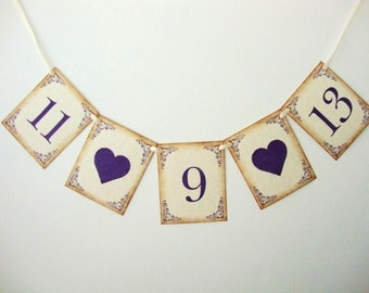Wedding Date Garland Banner Decoration Photo Prop Rustic Vintage Style