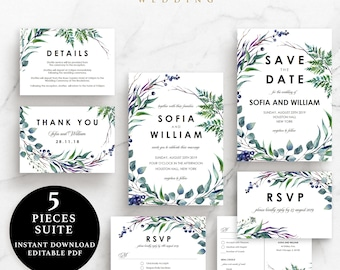 Green Leaves Wedding Suite, Invitation, Save the Date, RSVP, Thank You Card, Details Card, Instant Download Printable, EWSU003