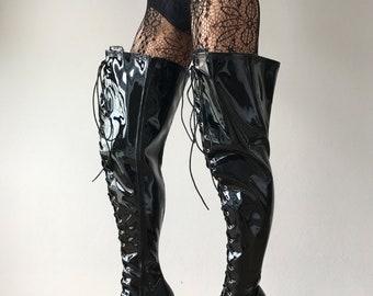 15cm Platform NIGEL 60cm Mid-Thigh Laceup Goth Punk Cosplay Fetish Boots Patent