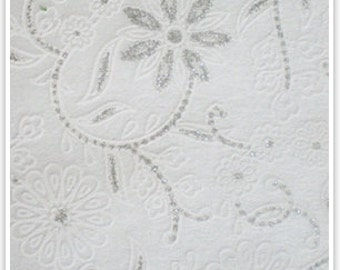 Non woven recycled paper white with silver lace print