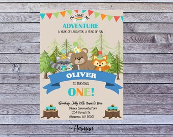 Printable woodland theme birthday invitation, forest birthday invite, woodland birthday invitations for kids any ages, forest animals