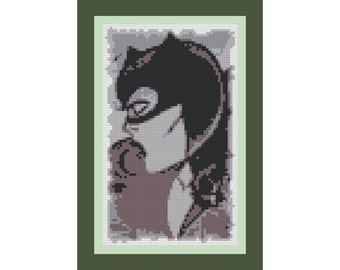 Retro CATWOMAN Cross-Stitch Pattern