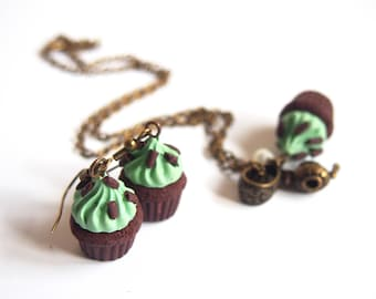Mint Cupcake Jewelry Set ( chocolate muffin cupcake earrings muffin earrings miniature cupcake polymer clay jewelry food jewelry )