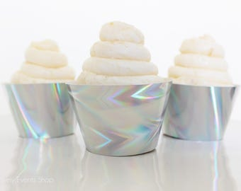 NEW! Iridescent Cupcake Wrappers, Holographic Cupcake Wrappers, Disco Cupcake Wrappers, Disco Ball Cupcake Wrappers-Set Of 6, 12,18,24+