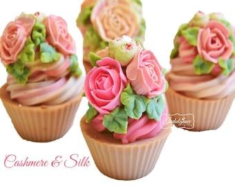 Cashmere and Silk Handmade Artisan Vegan Soap Cupcake, handmade soap, cold process soap, soap cupcake cake soap