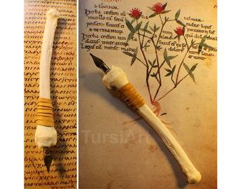 Coyote Leg Bone Pen - bone dip pen calligraphy pen nib pen Writing Pen Renaissance Fair Medieval Pen Goth Wedding Guestbook Apothecary pen