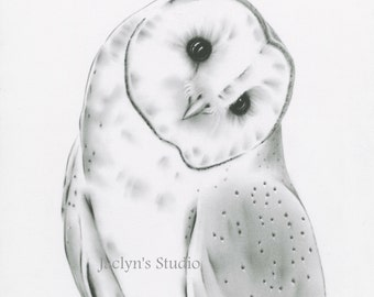 Barn Owl Art Print, Owl Charcoal Drawing Giclee Print, Owl Sketch, Owl Giclee Print, Owl Drawing, Charcoal Owl, Owl Decor, Owl Print