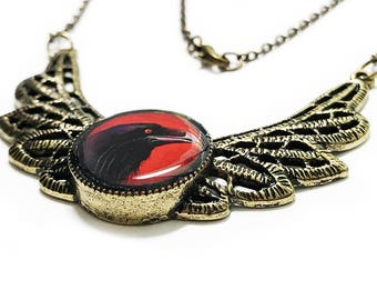 Raven Necklace, Black Crow, Handmade, Red, Crow Necklace, Halloween, Gothic, Bird Lover, Wings, Birds, Black Necklace, Gifts for her, Goth