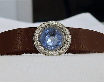 Elegant leather bracelet with Swavorski Crystal, FREE SHIPPING