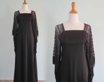 Alfred Shaheen Dress - Miss K for Alfred Shaheen Black Dress with Crochet Sleeves - Vintage Black Dress - Vintage 1970s Dress S M