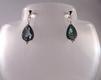 Gemstone earrings.  Handcrafted Abalone and 925 Sterling silver earrings