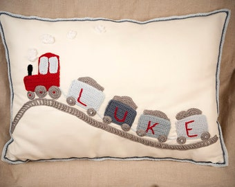 Personalised Train  Cushion , Baby Gift, Baby Room