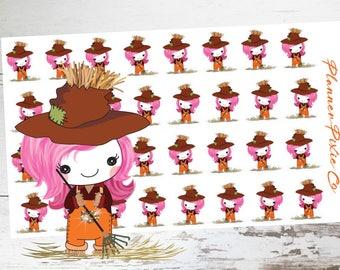 Suki the Unicorn //  Unicorn Planner Stickers // Fall // Autumn // Scarecrow // FA1