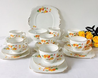 Bell China 21 Piece Tea Set, Hand Painted Flowers, Staffordshire, 1940s.