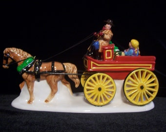 Horse Drawn Wagon with Children And Christmas Gifts Dept. 56