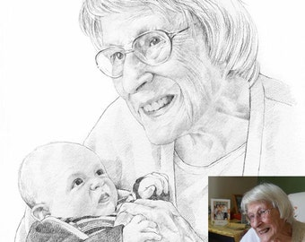 Personalised mother's day gift. Custom pencil portrait drawing from photo.