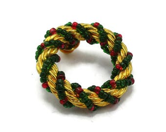 Gold Tone Christmas Wreath Pin Red Green Seed Bead Tie tack Vintage Costume Jewelry Holiday Gift Ideas Designer Shawl Scarf Pin Clip