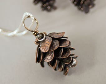 Stout Copper Pinecone Pendant - Textured with Dark Patina - Botanical Pendant Hand Crafted by On The Bend