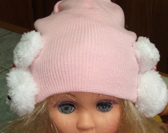 Light pink bunny ears - 12/36 months - fine acrylic wool Cap