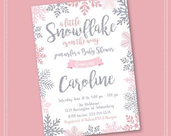 Snowflake Baby Shower Invitation, Winter Wonderland Baby Shower Invitation, Girl Snowflake Baby Shower, Winter Baby Shower Invitation, Boy