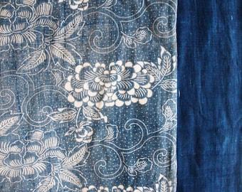Large Boro Antique Indigo Fabric - Kiku and peonies, Japanese folk art, Kid's futon cover,  Katazome, stencil dyed, No waste, 100/170cm