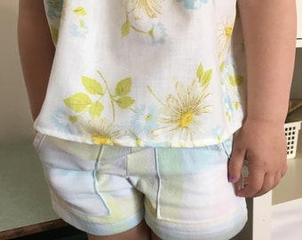 New!  Picnic Shorts  Pastel  Vintage Cotton  Reclaimed Fabric   Girls