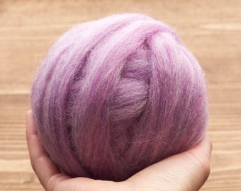 Wool Roving for Needle Felting, Wet Felting, Lilac Purple, Spinning, Dyed Felting Wool, Light Purple, Violet, Fiber Art Supplies