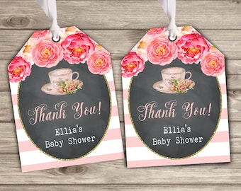 Gift tags Tea Baby Shower party favor Bridal Baby Tea Floral Thank You Tags TT545
