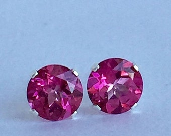 MothersDaySale Mystic Pink Topaz 6mm 2ctw Sterling Silver Stud Earrings