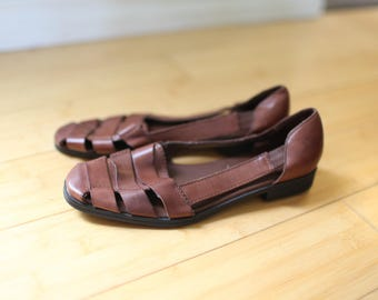 vintage woven brown leather hurache sandals womens 7