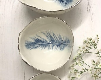 Trio of blue feather bowls handcrafted out of beautiful porcelain