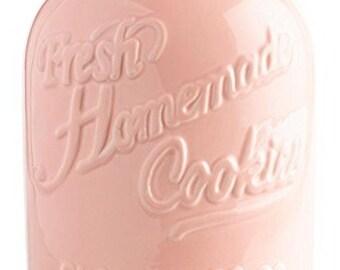 Pink Ceramic Airtight Mason Cookie Jar Storage Container Large
