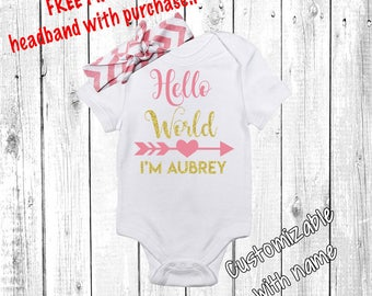 Hello World Newborn Outfit, Baby Girl, Baby Girl, Newborn Girl Outfit, Baby Girl Coming Home Outfit, Baby Girl Going Home Outfit, Pink