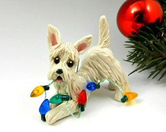 Scottish Terrier Wheaten Porcelain Christmas Ornament Figurine Lights