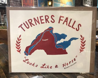 Locally made Turners Falls map print